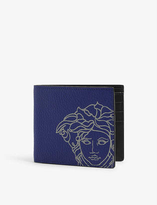 Versace Graphic-print leather billfold wallet