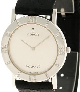 Corum White Platinum and Diamonds Romvlvs Women's Wristwatch 30mm