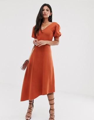 Asos Design DESIGN super soft puff sleeve v back midi dress with asymmetric hem-Orange