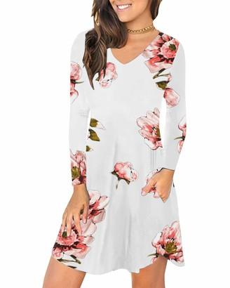 KIDSFORM Women's Summer Sleeveless Pockets Casual Swing T-Shirt Dress Short Mini Loose Flare Beach Dresses Army Green Size S/UK 8