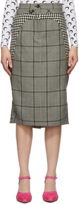 Marine Serre Black and White Wool Houndstooth Skirt