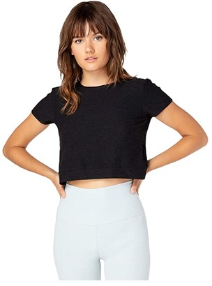 Beyond Yoga Back Out Cropped Tee (Darkest Night) Women's Clothing