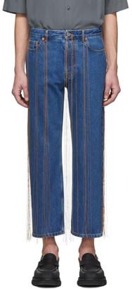 Valentino Navy Fringe Jeans