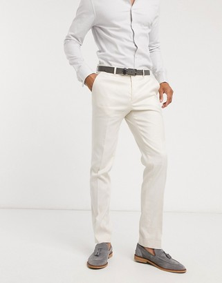 Avail London skinny fit linen suit trousers in stone