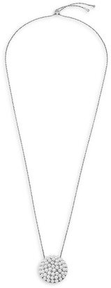 Majorica Allegra Long Steel Faux-Pearl Chain Necklace
