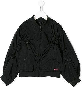 DKNY Logo Print Toggle Detail Bomber Jacket