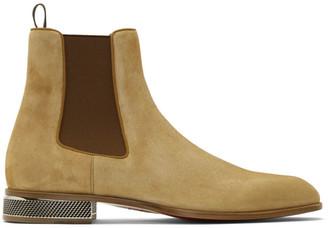 Christian Louboutin Tan Samsocool Flat Chealsea Boots