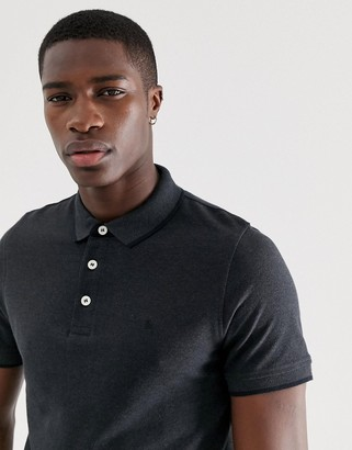 Jack and Jones Essentials slim fit tipped pique logo polo in dark gray