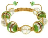 Gem Stone King 16mm Handmade Green Murano Glass & Crystal Beads on Silk Cord Bracelet