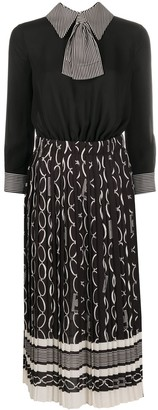 Elisabetta Franchi Chain-Print Pleated Dress