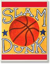 Stupell Industries The Kids Room by Stupell Slam Dunk Basketball on Yellow Rectangle Wall Plaque