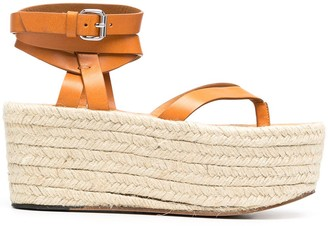 Isabel Marant Woven-Raffia Platform Sandals