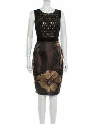 Carmen Marc Valvo Wool Knee-Length Dress Wool