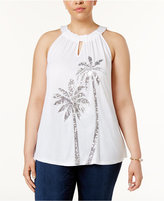 INC International Concepts Plus Size Sequined Palm Tree Halter Top, Created for Macy's