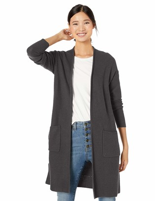 Goodthreads Wool Blend Honeycomb Longline Cardigan Sweater Charcoal Grey S