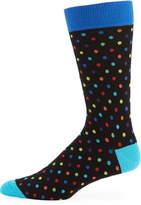 Jared Lang Rainbow-Dot Mercerized Cotton-Blend Socks