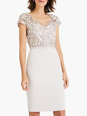Phase Eight Charlotte Lace Dress, Latte/Cream