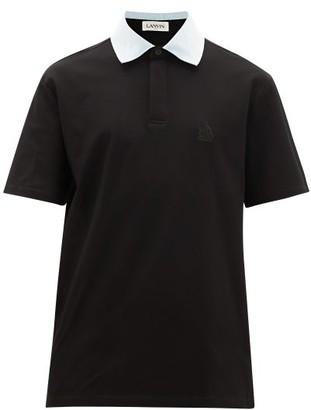 Lanvin Contrast-collar Cotton-pique Polo Shirt - Mens - Black White