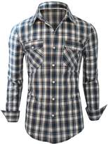 Newfacelook Mens Shirts Casual Slim Fit Dress Stylish Full Sleeve Plaid Check Shirt
