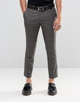 Selected Homme Cropped Skinny Fit Prince Of Wales Trousers With Stretch