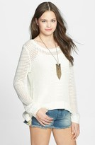 Billabong 'Half Moon Bay' Fringe Sleeve Open Knit Pullover (Juniors)