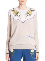 Stella McCartney Flower-Embellished Wool Sweater