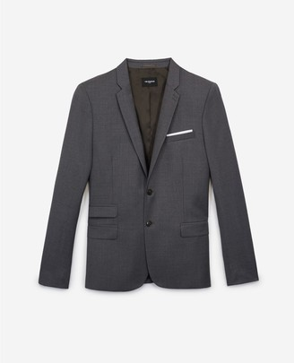 The Kooples Grey formal wool jacket with notched lapels