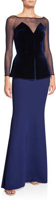 Chiara Boni Boat-Neck Long-Sleeve Velvet Peplum Bodice Illusion Gown