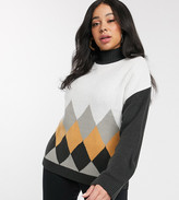 Brave Soul Plus cluster sweater in diamond knit