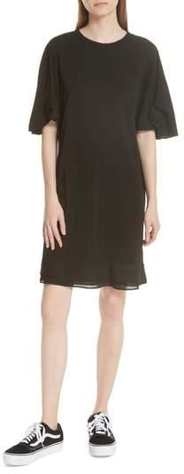 Clu Silk Trim Folded Sleeve T-Shirt Dress
