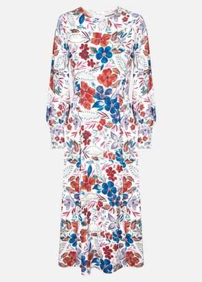 Essentiel Antwerp - Saga Long Sleeve Midi Dress - UK10 - Blue/White/Red