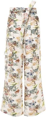 Oscar de la Renta Belted Fil Coupe Floral-jacquard Wide-leg Pants