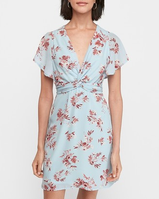 Express Floral Twist Front Fit And Flare Dress