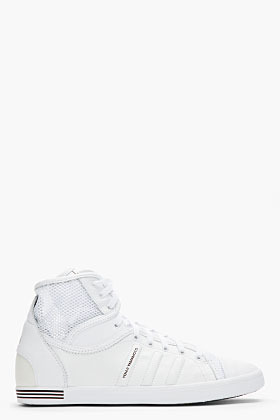 Y-3 White Mesh Plimsoll High Top Sneakers