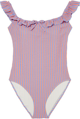 Solid & Striped The Amelia Ruffle-trimmed Striped Stretch-seersucker Swimsuit
