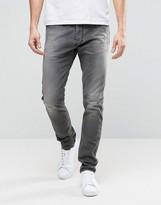Diesel Tepphar Skinny Jeans 674U DNA Gray Distress Repair