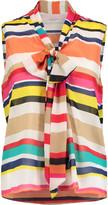 Alice + Olivia Indira pussy-bow striped silk-chiffon blouse
