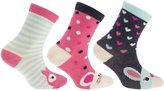 Universal Textiles Childrens Girls Cotton Rich Assorted Animal Design Socks (Pack Of 3)
