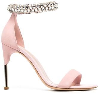 Alexander McQueen Crystal-Embellished Ankle Strap Sandals