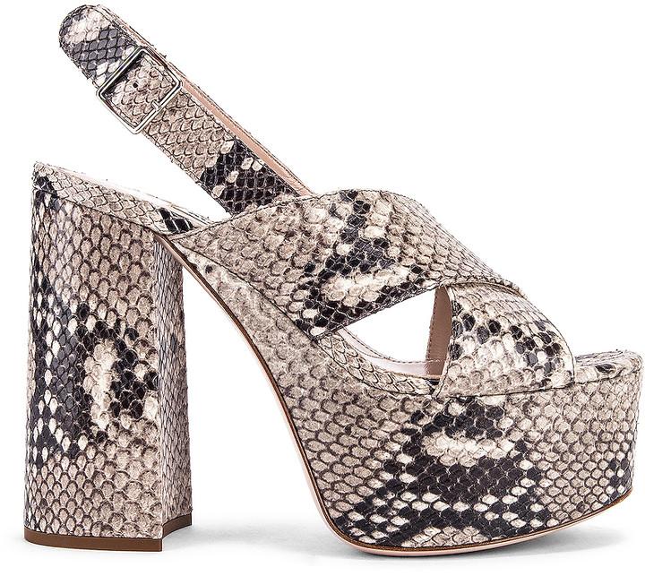 Miu Miu Slingback Platform Sandals in Roccia   FWRD
