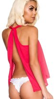 THE MESH KING Coqueta Tank Top Open Back Sexy Halter Knotted Tunic Backless Sport Shirt -LG
