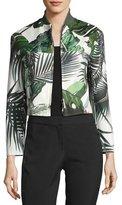 Max Mara Palm-Print Cropped Bomber Jacket
