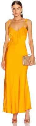 Self-Portrait Frilled Jacquard Dress in Orange | FWRD