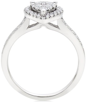 Beaverbrooks Platinum Diamond Pear Shaped Cluster Halo Ring