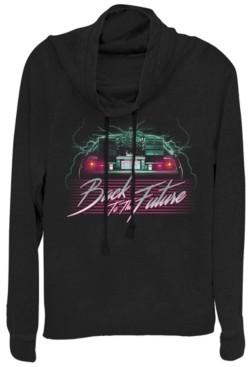 Fifth Sun Back To the Future Delorean 80's Style Neon Cowl Neck Sweater