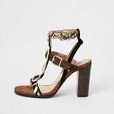 River Island Brown embellished heeled gladiator sandals