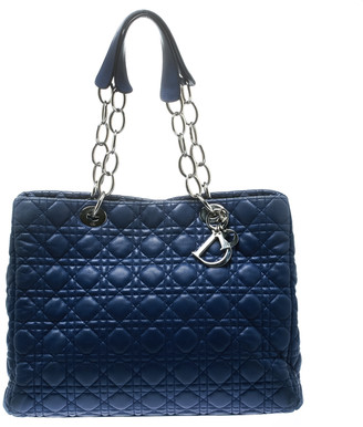 Christian Dior Blue Cannage Soft Leather Large Shopper Tote