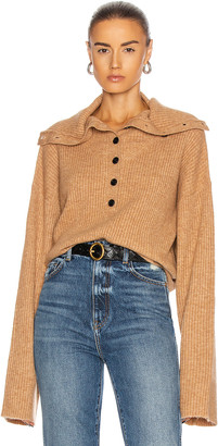 Marissa Webb Aspen Button Front Cashmere Blend Sweater in Camel   FWRD