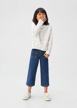 MANGO Cotton polka dot t-shirt off white - 5 - Kids