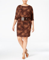 Jessica Howard Animal-Print Ruched-Waist Sheath Dress